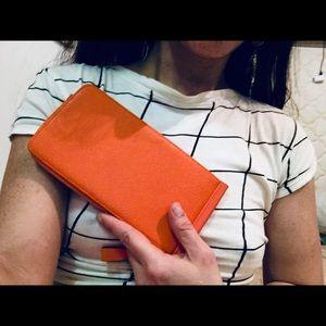 Vintage 70s tangerine orange wallet! Amazing!!
